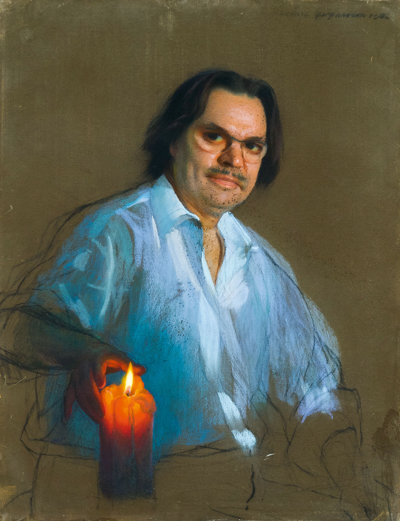 Автопортрет с горящей свечой.