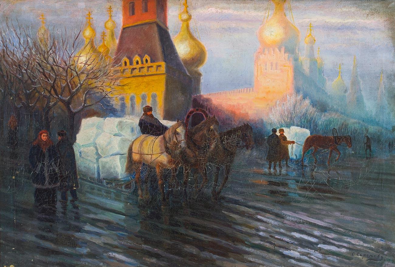 Торговцы льдом у Кремлёвских стен.