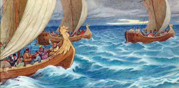 Четыре иллюстрации из серии «Путешествие по северным морям».