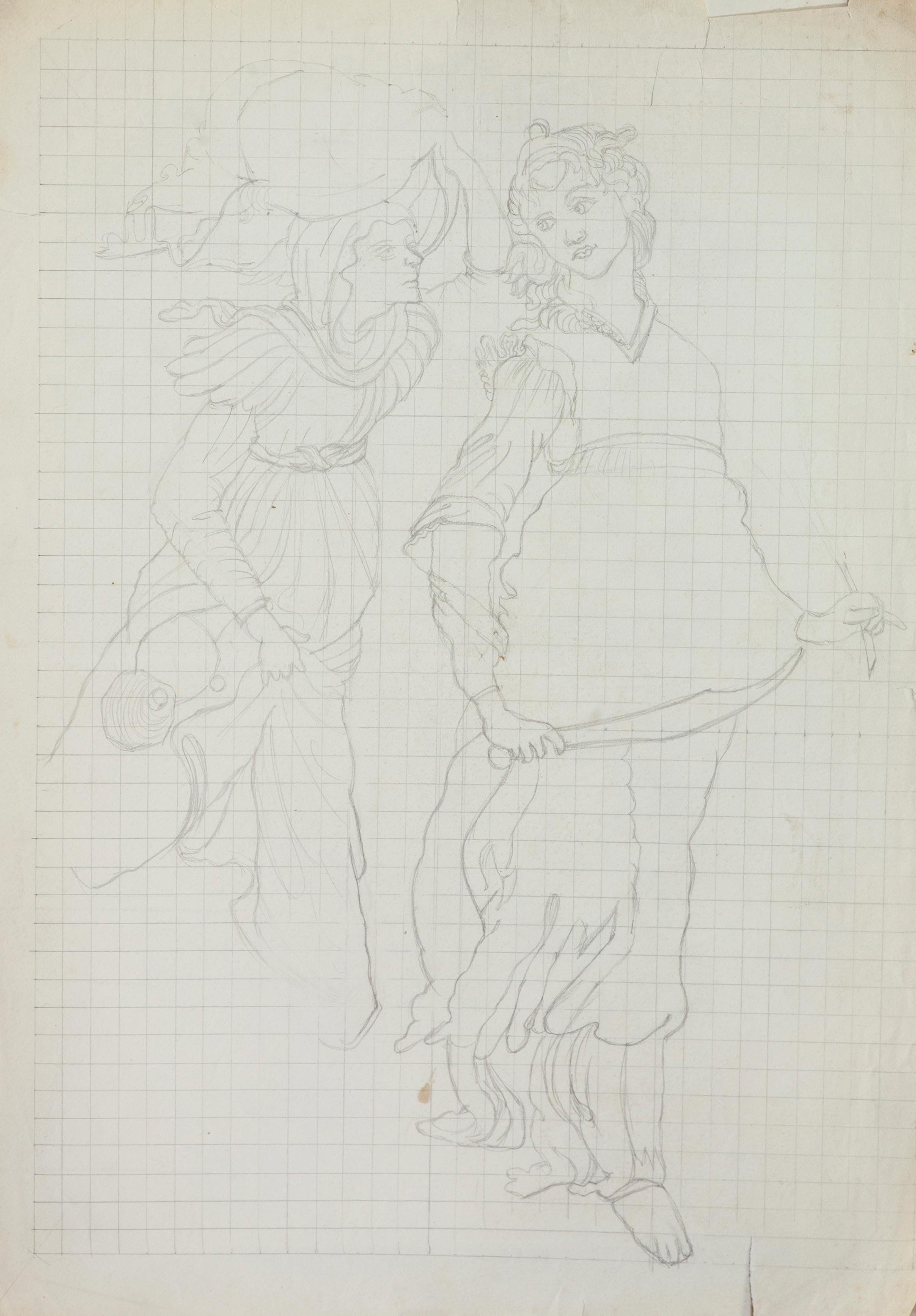 Эскизы фресок. 2 рисунка.