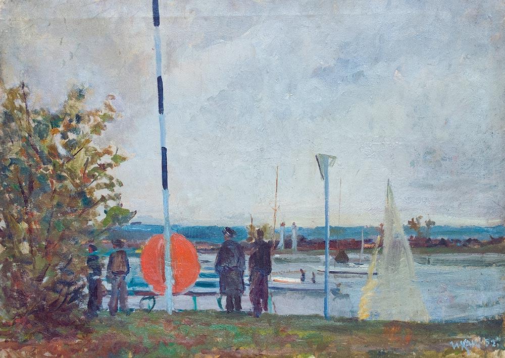 Пейзаж с лодкой.