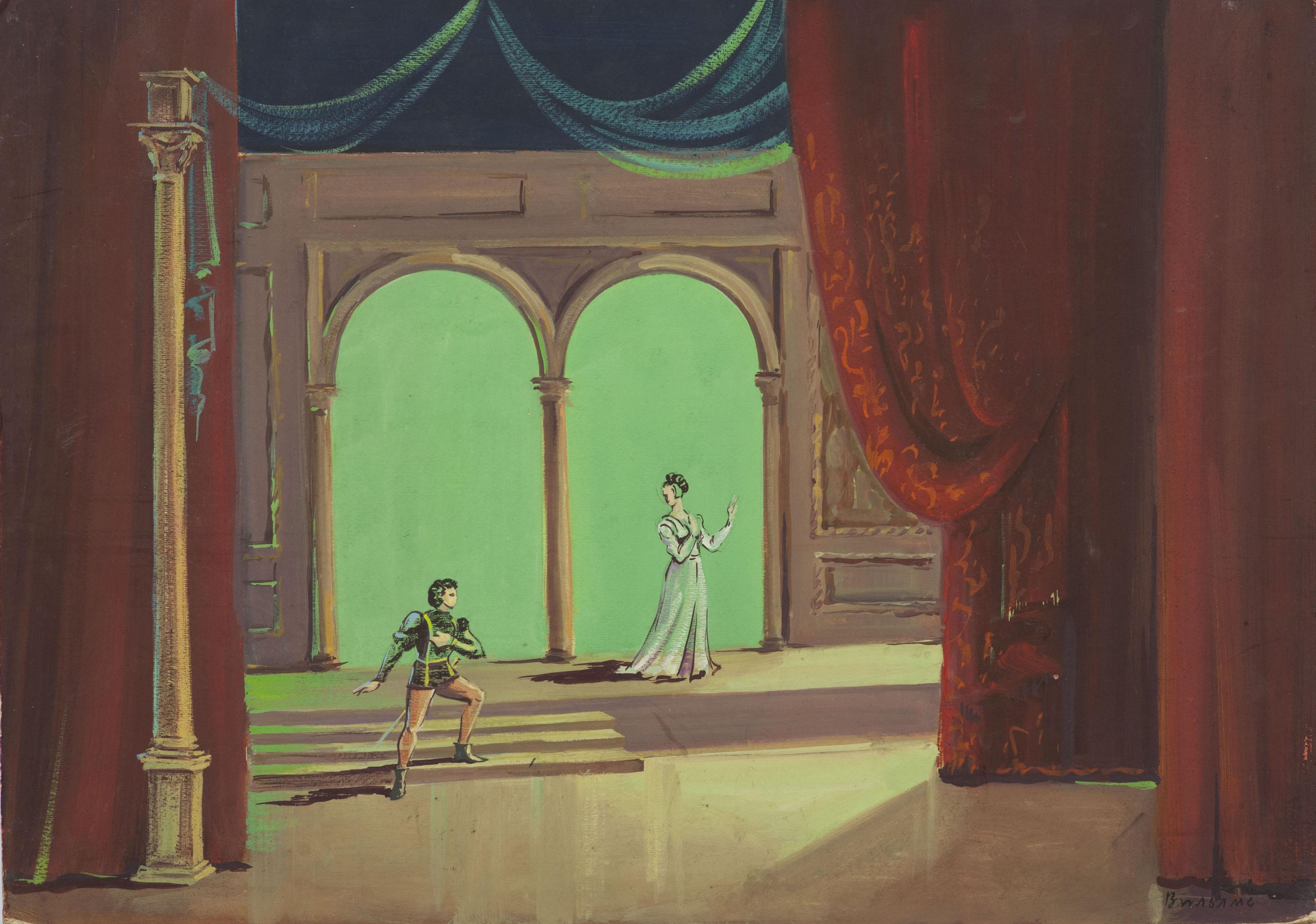 Эскиз декорации к балету «Ромео и Джульетта» С.С. Прокофьева.
