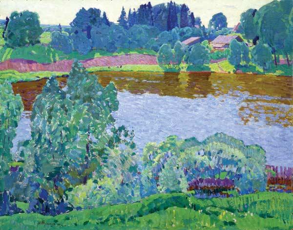 Деревня у реки.