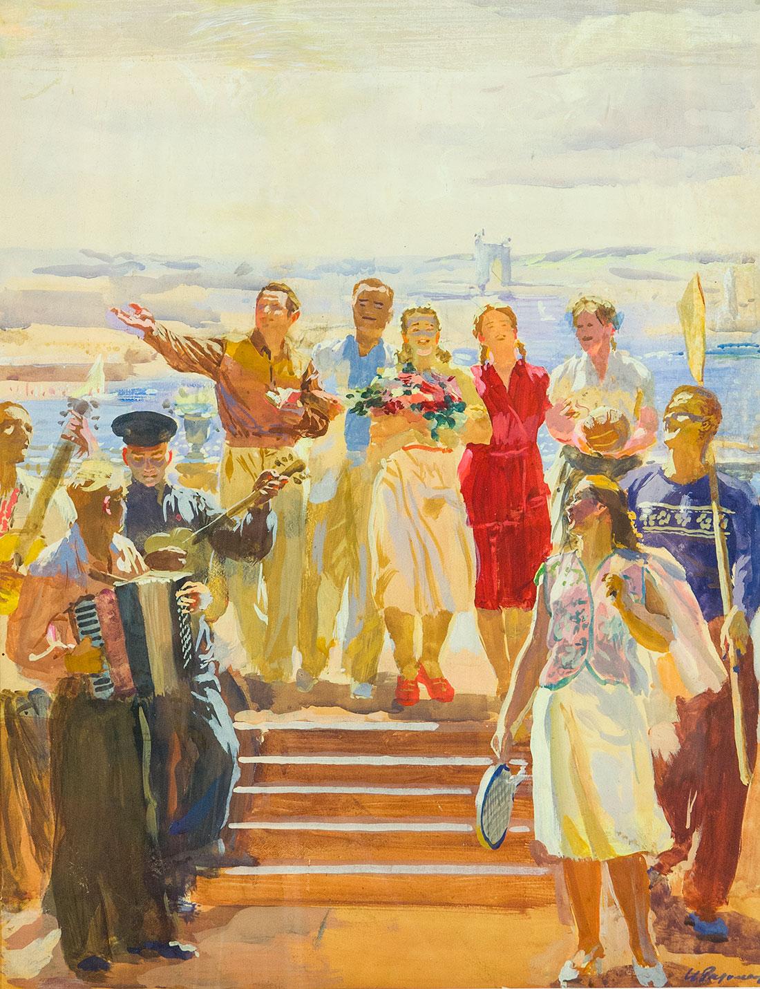 Эскиз росписи аванзала павильона международной ярмарки в Лейпциге