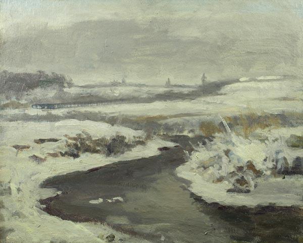 Река зимой.