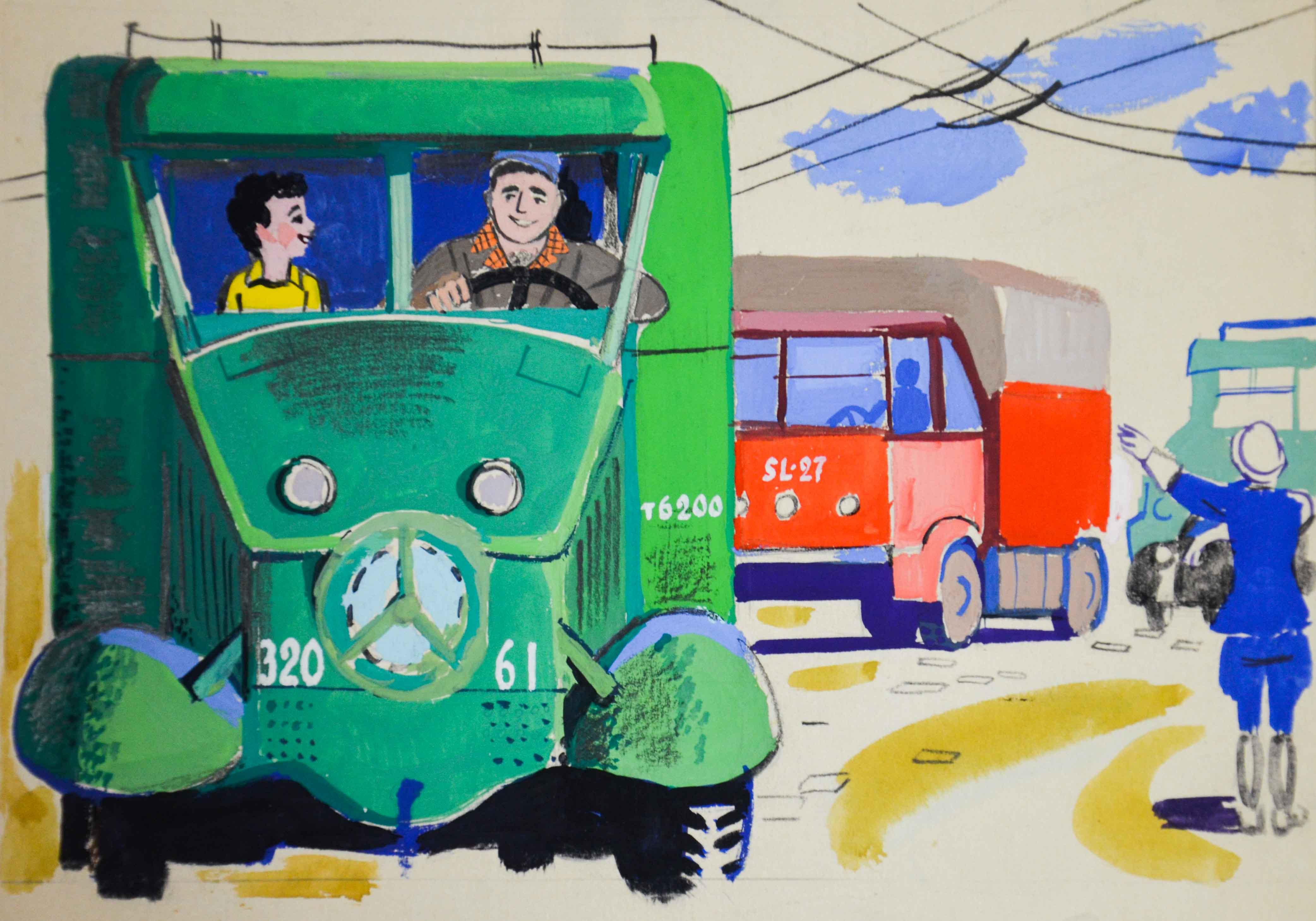 Мальчик в грузовике.