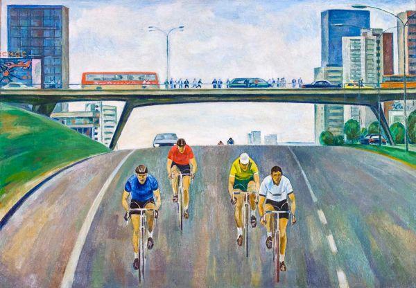 Велогонщики.