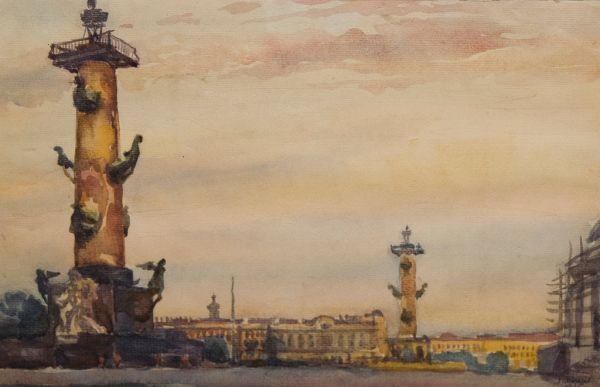 Ленинград. Вид на ростральные колонны.