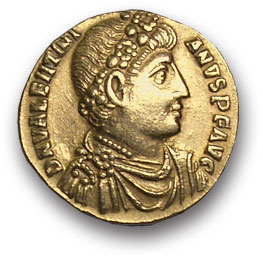 Рим. Валентиниан I. Солид, золото. Г. Антиохия. 364-375 н.э. вес 4,3 гр. Состояние VF+/VF+.