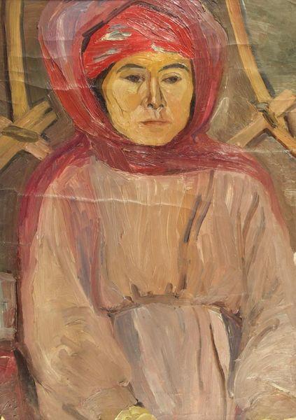 Каракалпачка в красном платке.