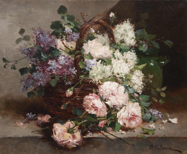 Натюрморт с корзиной цветов.