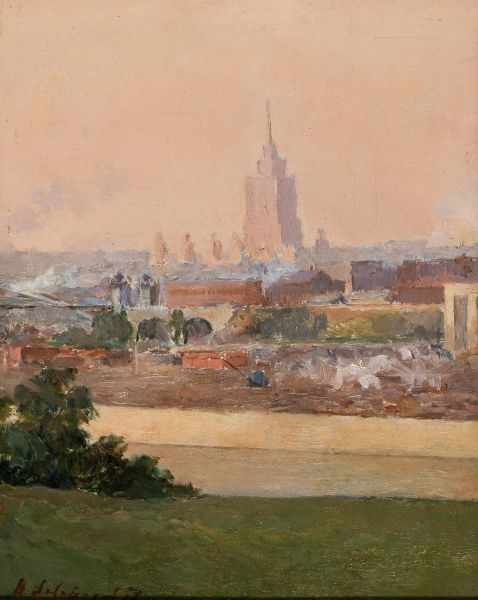 Пейзаж с высотным  зданием.