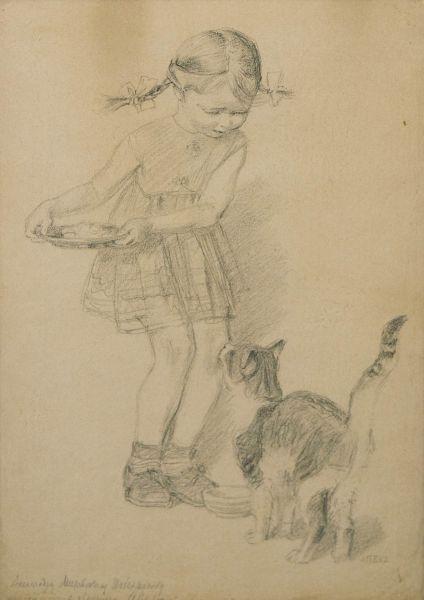 Девочка и кошка.