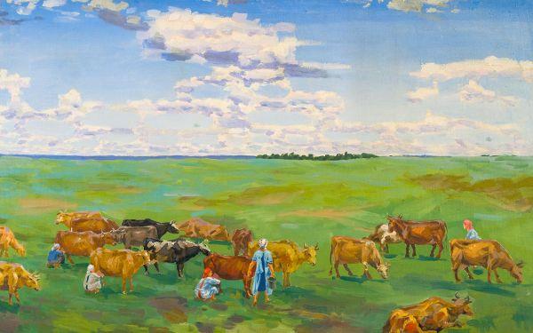 Дойка коров.