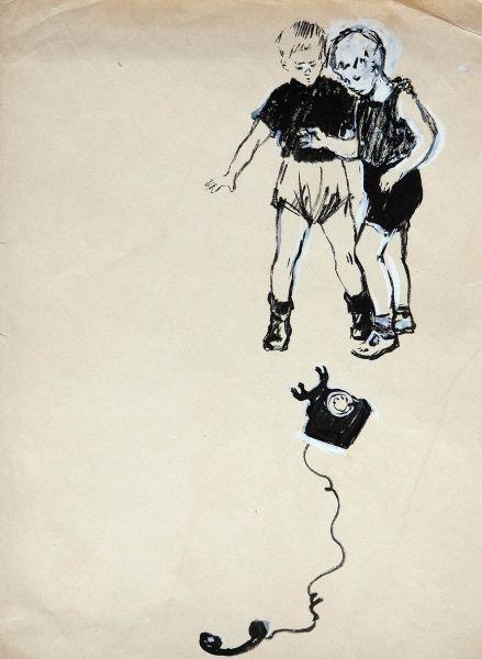 Первый школьный гость. Иллюстрация к книге Н.Никич «Андрюша идет в школу».