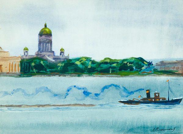Вид на Исаакиевский собор с Университетской набережной.