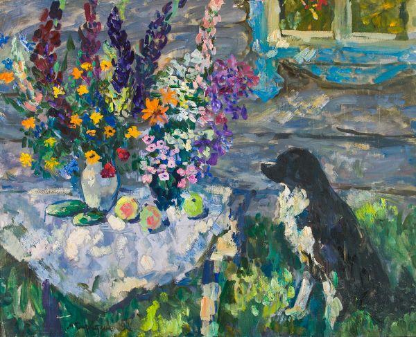 Собачка в саду.
