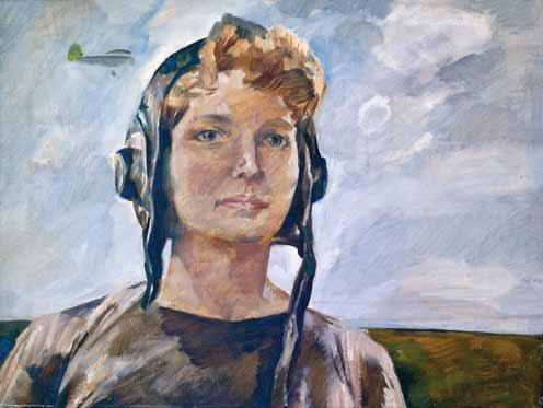 Портрет летчицы, мастера спорта, Нади Тимофеевой.