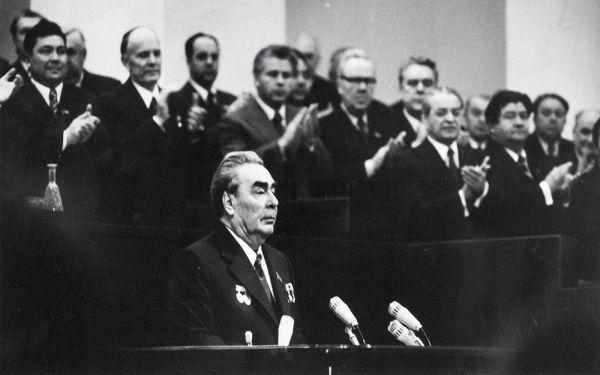Л.И. Брежнев на ХХV съезде КПСС.