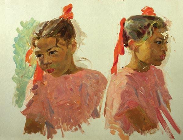 Набросок:Девочка в розовом.