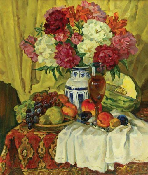 Натюрморт цветы и фрукты.
