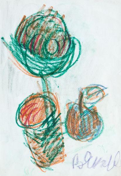 Натюрморт с цветком и яблоком.