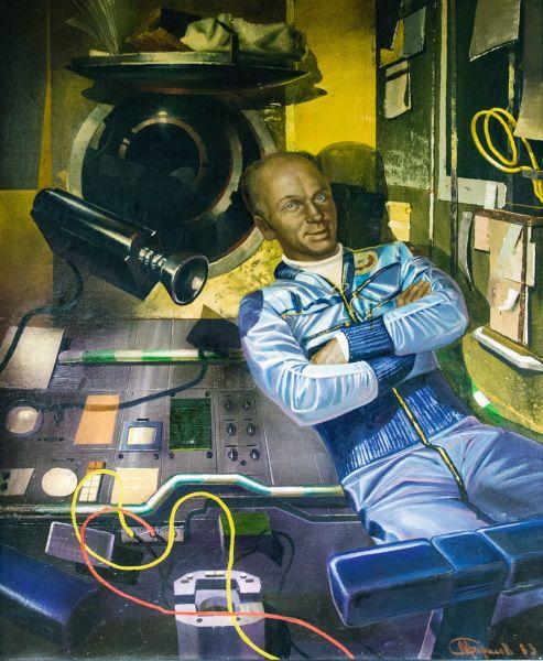 В.В. Лебедев на космическом корабле «Союз-13».