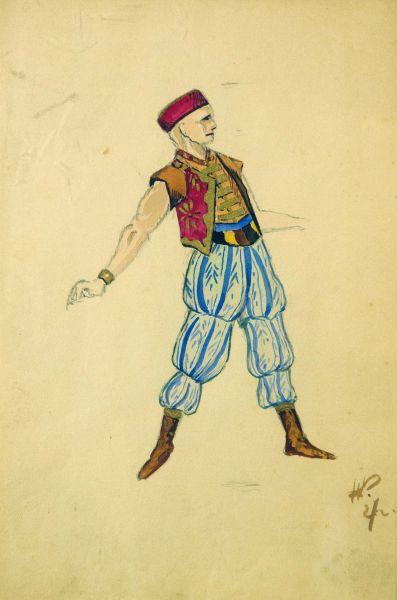 Эскиз костюма к балету Бахчисарайский фонтан. Хан Герей.