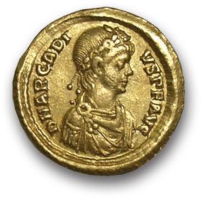 Рим. Аркадий. Солид. Золото. Г. Константинополь 383-408 н.э. вес 4,4 гр. Состояние VF+/VF+.