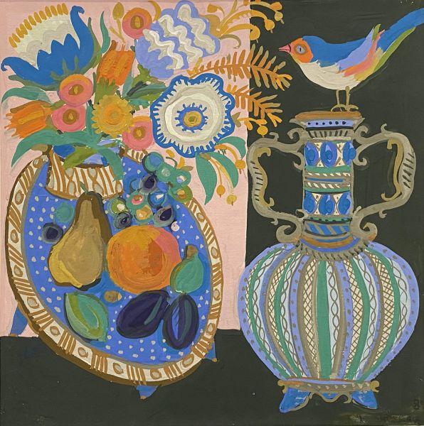 Декоративный натюрморт с голубым кувшином.