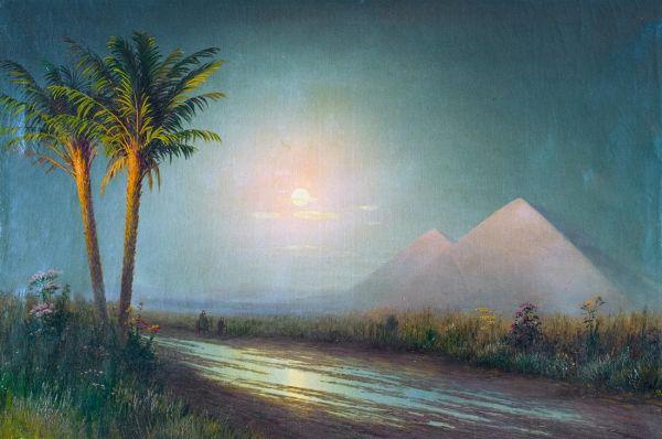 Пейзаж с пирамидами.