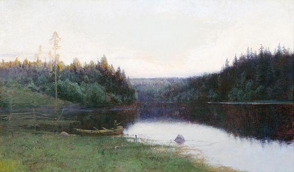 На реке.