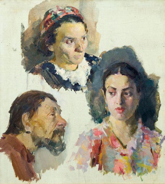 Этюды женских и мужских голов.