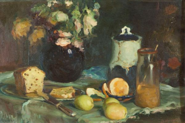 Натюрморт с кексом и лимонами.
