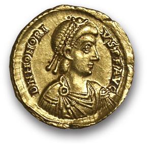 Рим. Гонорий. Солид. Золото. г. Равенна. 390-423 н.э. вес 4,5 гр. Состояние VF+/VF+.