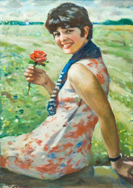 Девушка с розой.