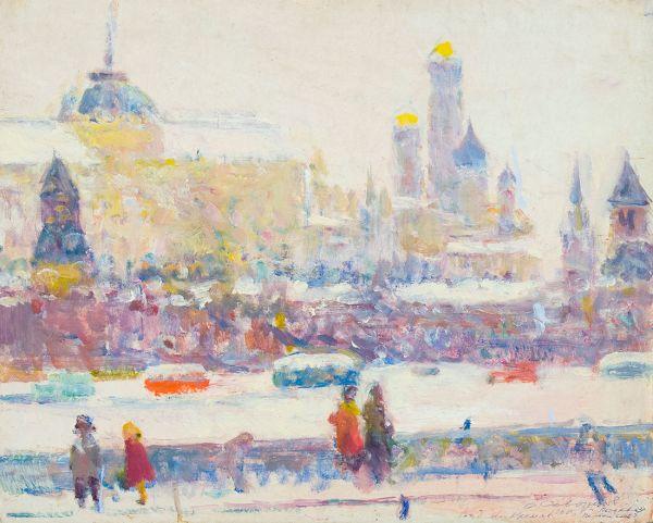 Вид на Кремль. Первый снег.