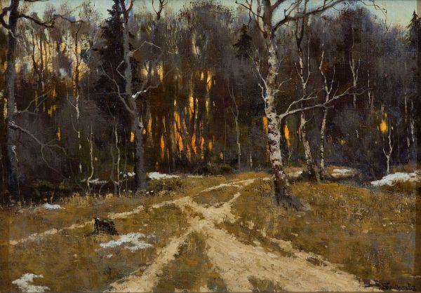 Закат в лесу.