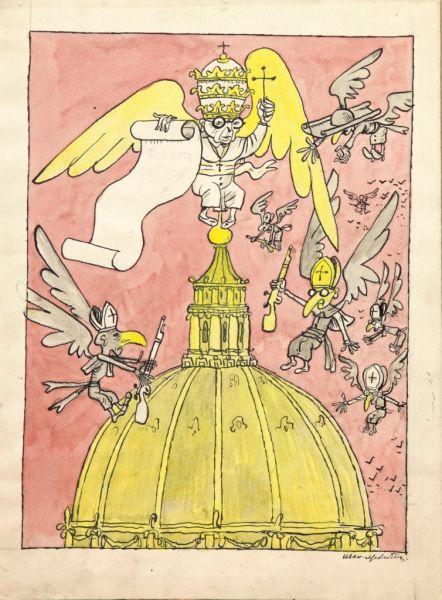 Ватикан. Иллюстрация для сатирического журнала «Безбожник у станка».