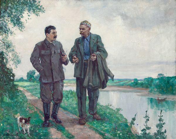 И.В.Сталин и А.М.Горький на прогулке.