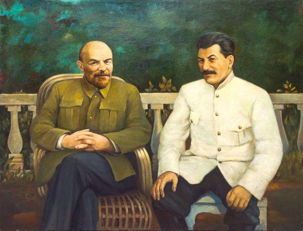 В.И.Ленин и И.В.Сталин  в Горках.