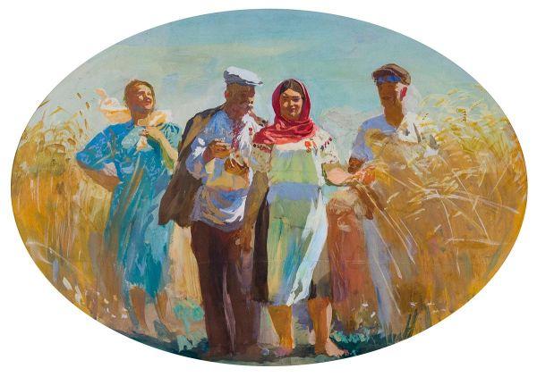 Урожай. Эскиз фрески  для Харьковского железнодорожного вокзала.