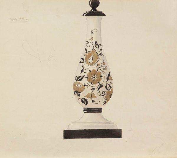 Эскиз настольной лампы из фарфора. Основание.