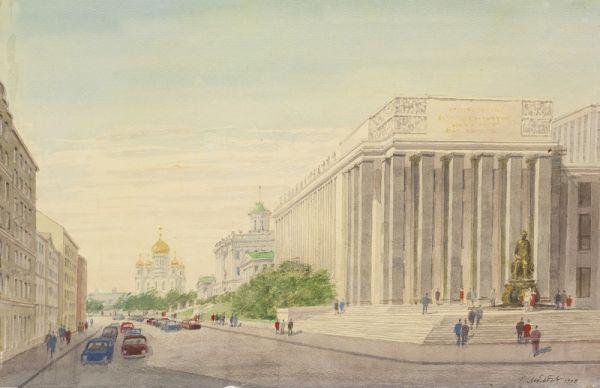 Вид государственной библиотеки им. В. И. Ленина.