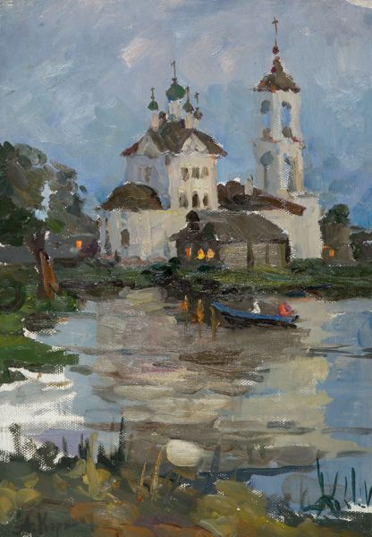 Церковь у реки. Вечер.