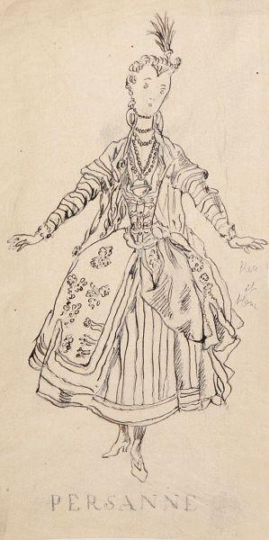 PERSANNE. Эскиз женского костюма.