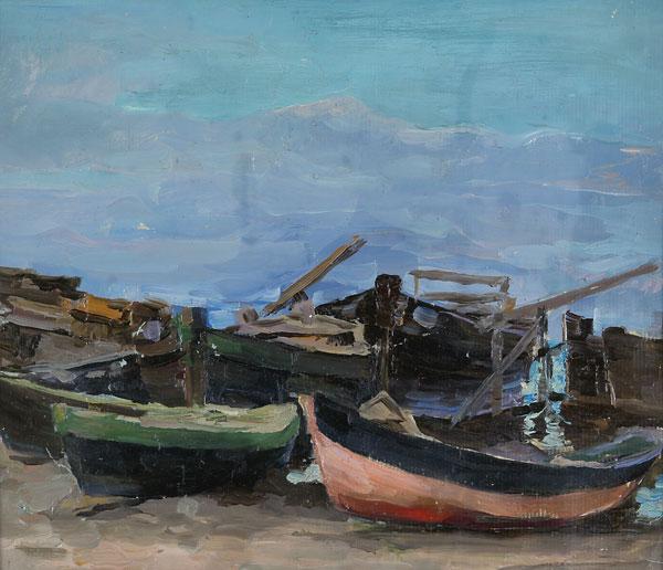 Лодки на берегу.