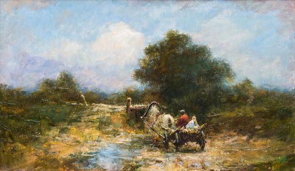 Сельский пейзаж с повозкой.