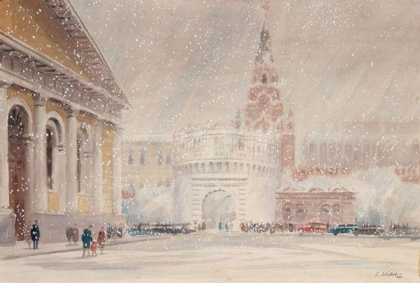 Вид на Кремль. Снегопад.