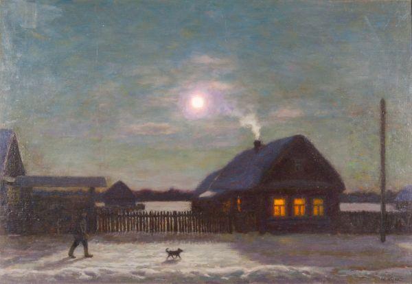Зимой в деревне.